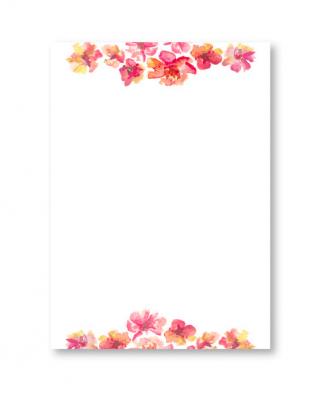 Vēstuļu lapu komplekts ar ziediem, A4, Manilla