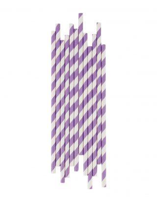 Papīra salmiņu komplekts Gaiši violetas strīpas