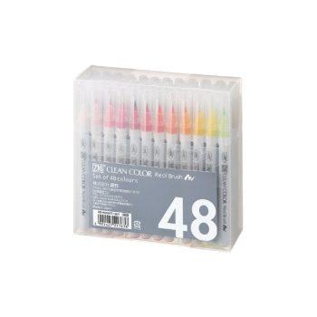 Flomāsteru komplekts ZIG Clean color Real Brush, 48 gab.