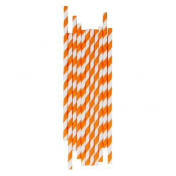 Papīra salmiņu komplekts Oranžas strīpas