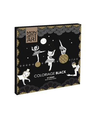 Krāsojamā grāmata Circus, black and gold