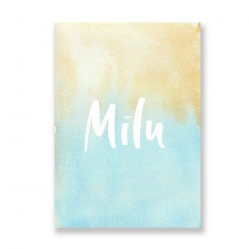 A4 plakāts Mīlu, zili zeltīts fons