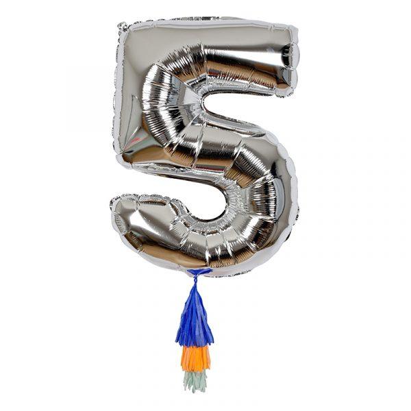 Balons Cipars 5, sudraba krāsa