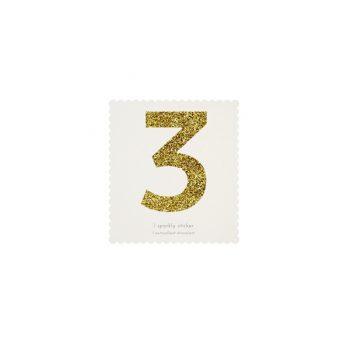 Uzlīme Cipars 3, zelta krāsā