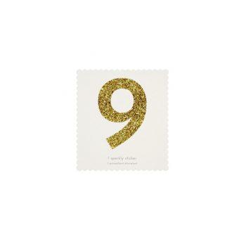 Uzlīme Cipars 9, zelta krāsā