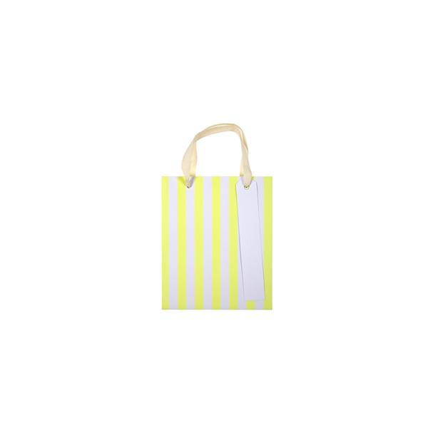 Dāvanu maisiņš Neon Stripes, dzeltens