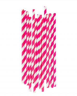 Papīra salmiņu komplekts Spilgti rozā strīpas