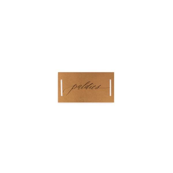 Mini kartīte - etiķete ar iegriezumiem Paldies, zelta krāsas folija, brūna