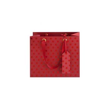 Dāvanu maisiņš ar spīdīgām zvaigznēm, sarkans