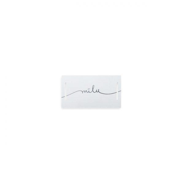 Mini kartīte - etiķete ar iegriezumiem Mīlu, sudraba krāsas folija