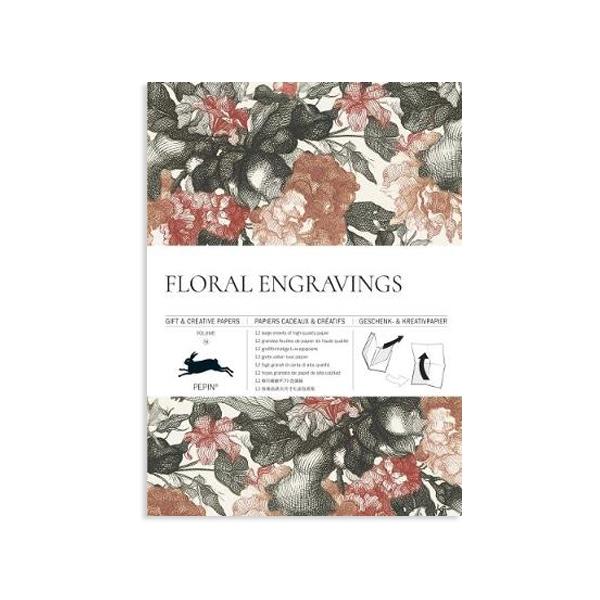 Dāvanu ietinamo papīru grāmata Floral Engravings
