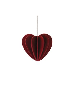 Koka dekors - pastkarte Sirds, tumši sarkana, liela