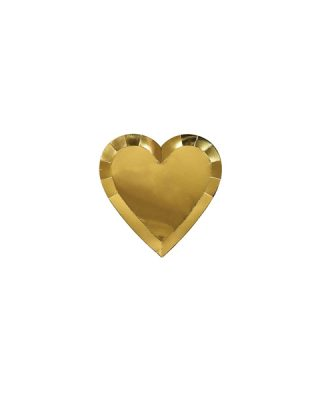 Papīra šķīvji Large gold heart