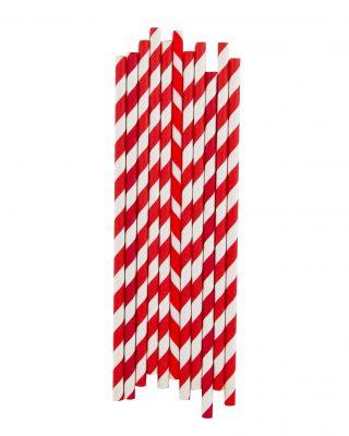 Papīra salmiņu komplekts Sarkanas strīpas