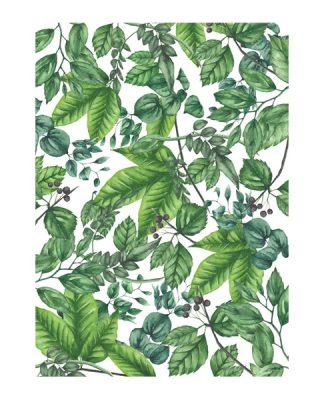 Dāvanu ietinamais papīrs Zaļas lapas un Putns Ziemā, abpusējs, loksne- ĪPAŠA CENA