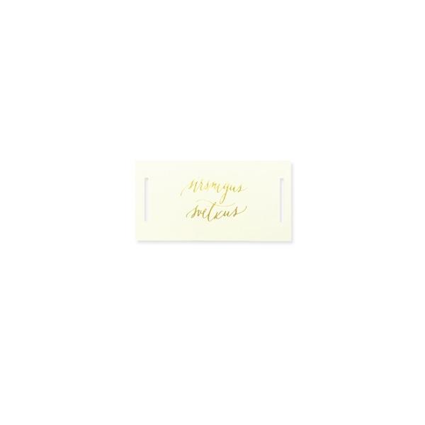 Mini kartīte – etiķete ar iegriezumiem Sirsnīgus svētkus, zelta krāsas folija