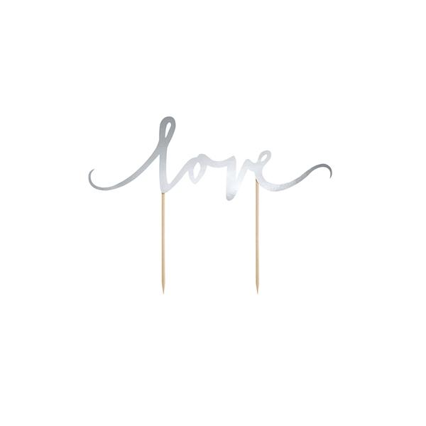 Papīra dekors kūkai LOVE, sudraba krāsa
