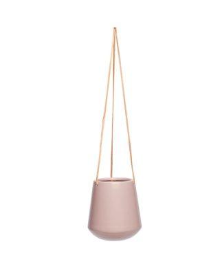 Puķupods ar ādas lentām, keramika, gaiši rozā, liels