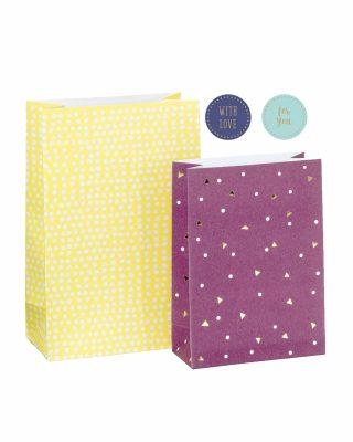 Dāvanu maisiņu un uzlīmju komplekts Yellow, bordeaux, 6 gab.