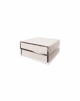 Dāvanu kaste White and Silver, kvadrāta, vidēja