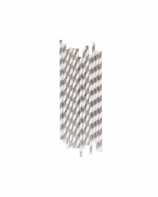 Papīra salmiņi Silver stripes, 25 gab., komplekts