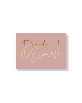 Mini kartīte Daudz laimes, old rose, zelta folija