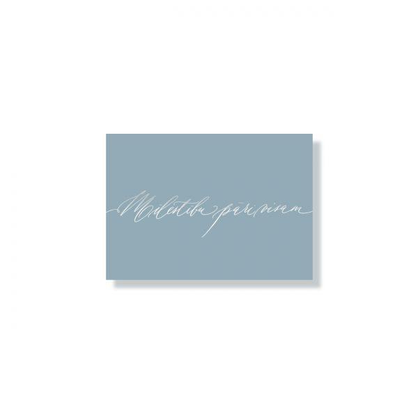 Mini kartīte Mīlestību pāri visam, pale blue, sudraba krāsas folija