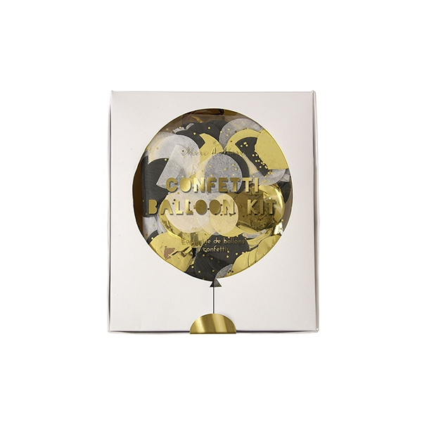 Confetti un balonu komplekts Shine, Melns & Zelts