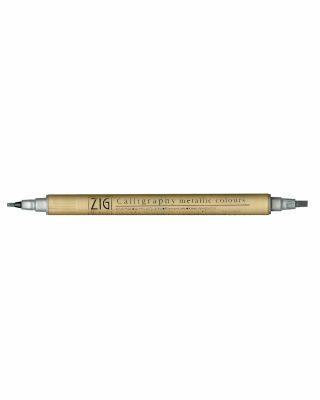 Flomāsters Kuretake ZIG Calligraphy metallic, platgala, sudraba krāsa
