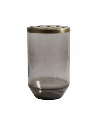 Stikla vāze Dusty black, ar metāla vāku