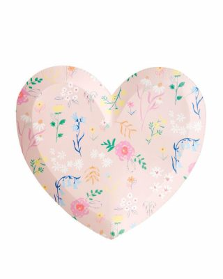 Papīra šķīvji Patterned Heart, 12 gab.