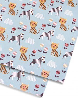 Dāvanu ietinamais papīrs Tiger and Zebra, loksne